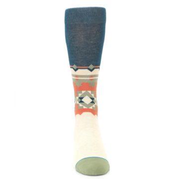 Image of Khaki Green Diamond Pattern Men's Casual Socks (front-04)