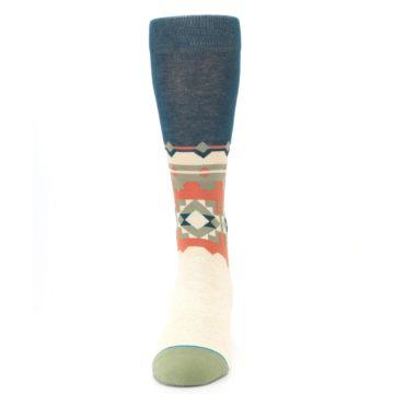Image of Khaki Green Diamond Pattern Men's Casual Socks (front-05)