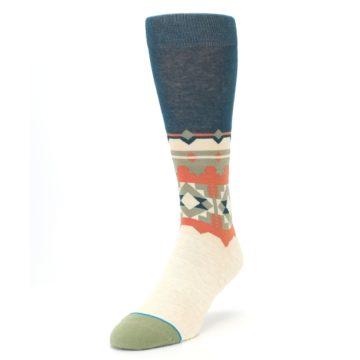 Image of Khaki Green Diamond Pattern Men's Casual Socks (side-2-front-07)