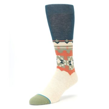 Image of Khaki Green Diamond Pattern Men's Casual Socks (side-2-front-08)