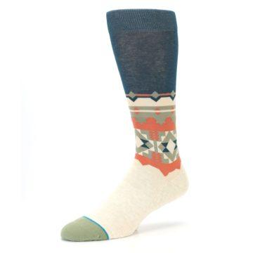 Image of Khaki Green Diamond Pattern Men's Casual Socks (side-2-09)