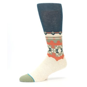 Image of Khaki Green Diamond Pattern Men's Casual Socks (side-2-10)
