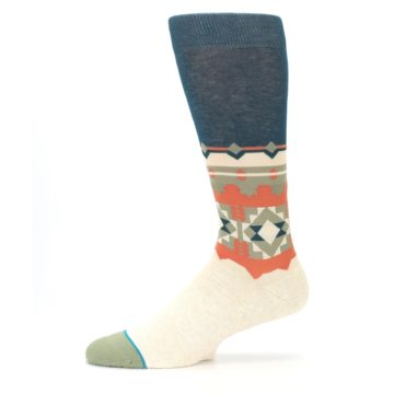 Image of Khaki Green Diamond Pattern Men's Casual Socks (side-2-11)