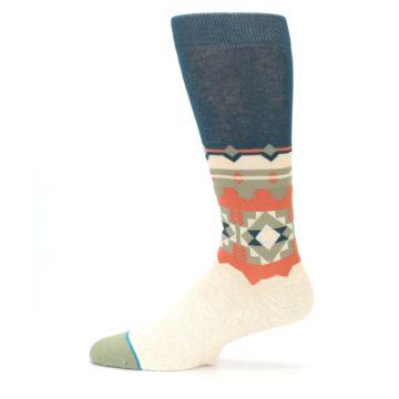 Image of Khaki Green Diamond Pattern Men's Casual Socks (side-2-12)