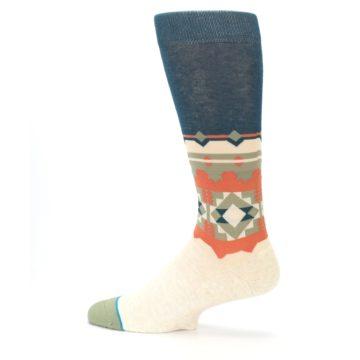 Image of Khaki Green Diamond Pattern Men's Casual Socks (side-2-13)