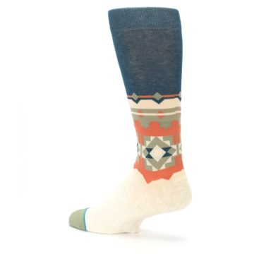 Image of Khaki Green Diamond Pattern Men's Casual Socks (side-2-back-14)