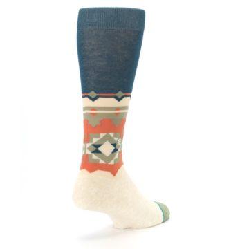 Image of Khaki Green Diamond Pattern Men's Casual Socks (side-1-back-21)