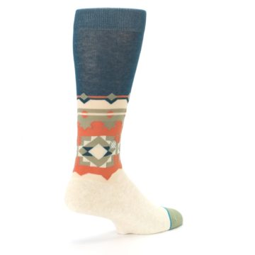 Image of Khaki Green Diamond Pattern Men's Casual Socks (side-1-back-22)