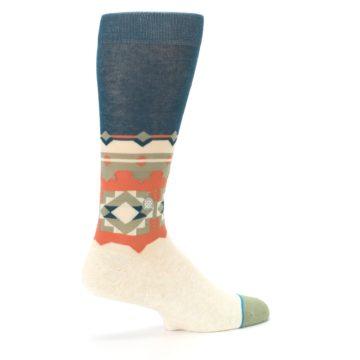 Image of Khaki Green Diamond Pattern Men's Casual Socks (side-1-23)