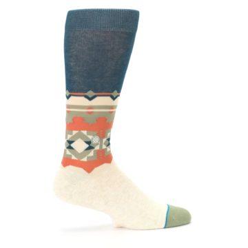 Image of Khaki Green Diamond Pattern Men's Casual Socks (side-1-24)