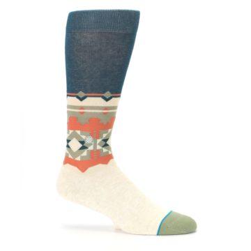 Image of Khaki Green Diamond Pattern Men's Casual Socks (side-1-25)