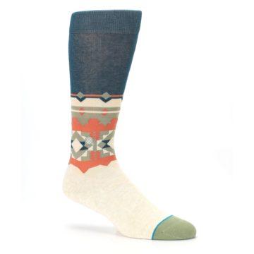 Image of Khaki Green Diamond Pattern Men's Casual Socks (side-1-26)
