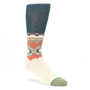 Image of Khaki Green Diamond Pattern Men's Casual Socks (side-1-27)