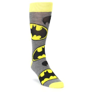 Image of Grey Yellow Batman Logo Men's Casual Socks (side-1-front-02)