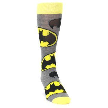 Image of Grey Yellow Batman Logo Men's Casual Socks (side-1-front-03)
