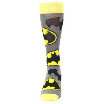 Image of Grey Yellow Batman Logo Men's Casual Socks (front-05)