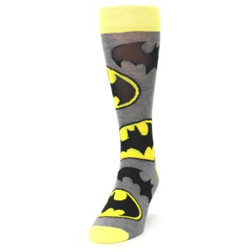 Image of Grey Yellow Batman Logo Men's Casual Socks (side-2-front-06)