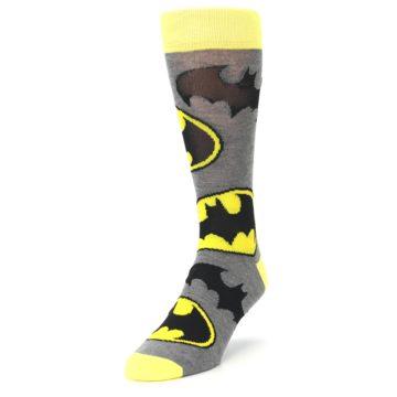 Image of Grey Yellow Batman Logo Men's Casual Socks (side-2-front-07)