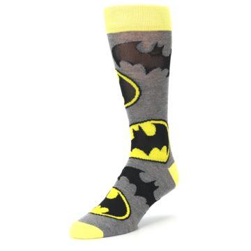 Image of Grey Yellow Batman Logo Men's Casual Socks (side-2-front-08)