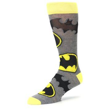 Image of Grey Yellow Batman Logo Men's Casual Socks (side-2-09)