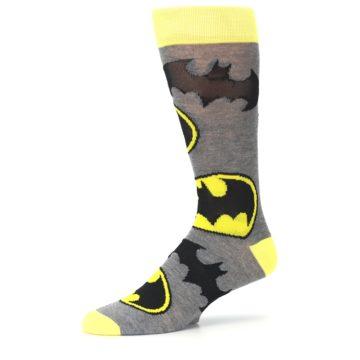 Image of Grey Yellow Batman Logo Men's Casual Socks (side-2-10)