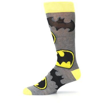 Image of Grey Yellow Batman Logo Men's Casual Socks (side-2-11)