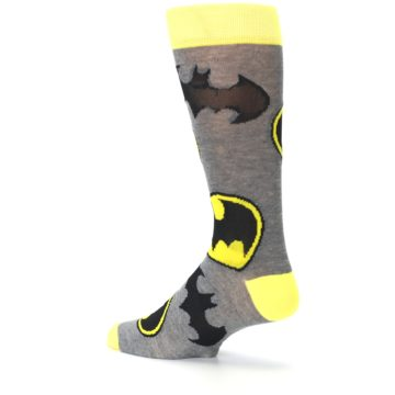 Image of Grey Yellow Batman Logo Men's Casual Socks (side-2-back-14)