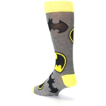 Image of Grey Yellow Batman Logo Men's Casual Socks (side-2-back-15)
