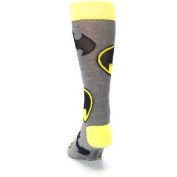 Image of Grey Yellow Batman Logo Men's Casual Socks (back-17)