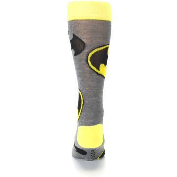 Image of Grey Yellow Batman Logo Men's Casual Socks (back-18)