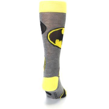 Image of Grey Yellow Batman Logo Men's Casual Socks (back-19)