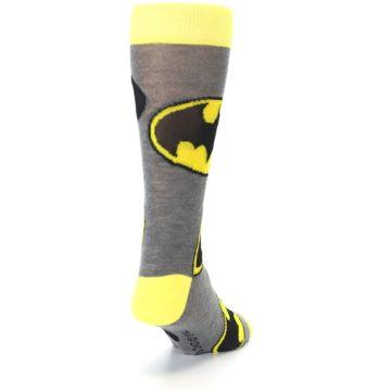 Image of Grey Yellow Batman Logo Men's Casual Socks (side-1-back-20)