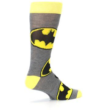 Image of Grey Yellow Batman Logo Men's Casual Socks (side-1-23)