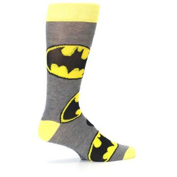 Image of Grey Yellow Batman Logo Men's Casual Socks (side-1-24)