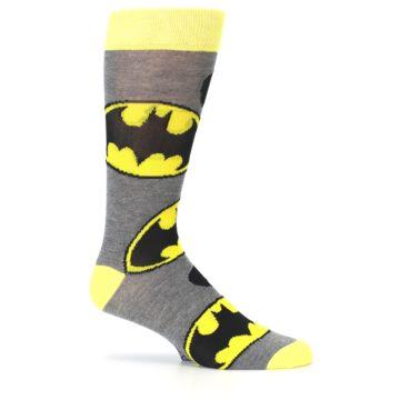 Image of Grey Yellow Batman Logo Men's Casual Socks (side-1-25)