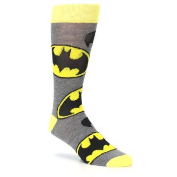 Image of Grey Yellow Batman Logo Men's Casual Socks (side-1-27)