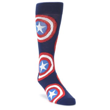 Image of Blue Captain America Logo Men's Casual Socks (side-1-front-02)