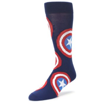 Image of Blue Captain America Logo Men's Casual Socks (side-2-front-08)