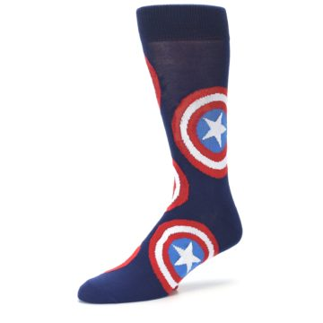 Image of Blue Captain America Logo Men's Casual Socks (side-2-09)