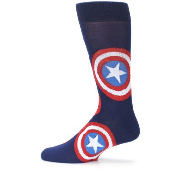 Image of Blue Captain America Logo Men's Casual Socks (side-2-12)