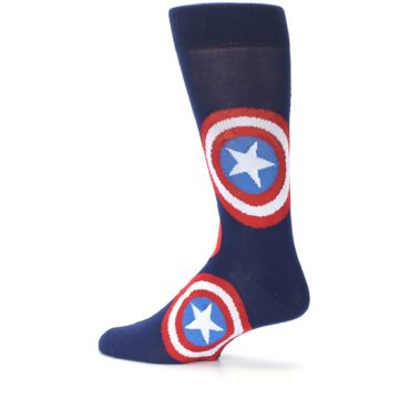 Image of Blue Captain America Logo Men's Casual Socks (side-2-13)