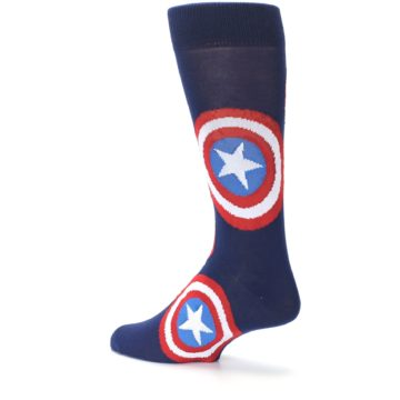 Image of Blue Captain America Logo Men's Casual Socks (side-2-back-14)