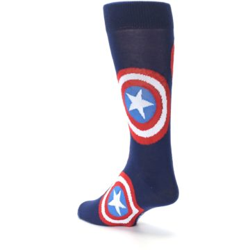 Image of Blue Captain America Logo Men's Casual Socks (side-2-back-15)