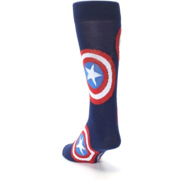 Image of Blue Captain America Logo Men's Casual Socks (side-2-back-16)