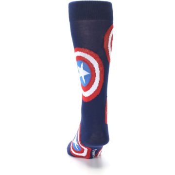 Image of Blue Captain America Logo Men's Casual Socks (back-17)