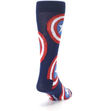 Image of Blue Captain America Logo Men's Casual Socks (side-1-back-20)