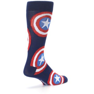 Image of Blue Captain America Logo Men's Casual Socks (side-1-back-22)