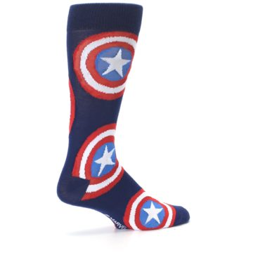Image of Blue Captain America Logo Men's Casual Socks (side-1-23)