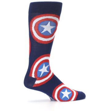 Image of Blue Captain America Logo Men's Casual Socks (side-1-24)
