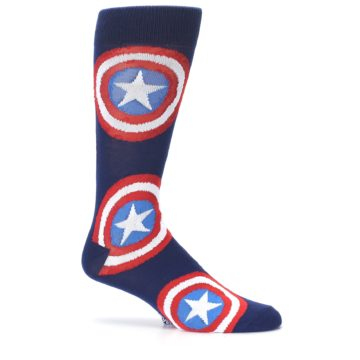 Image of Blue Captain America Logo Men's Casual Socks (side-1-25)
